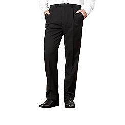 Thomas Nash - Big and tall black herringbone single-pleat formal trousers