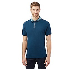 The Collection - Dark turquoise print collar polo shirt
