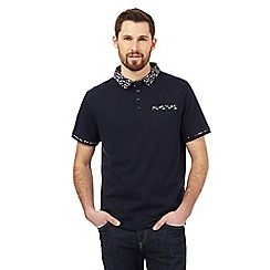 The Collection - Navy floral print trim polo shirt