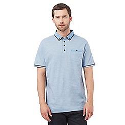 The Collection - Big and tall blue collar print polo shirt