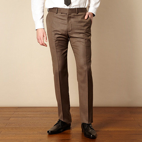 Red Herring Red Line - Brown textured suit trousers