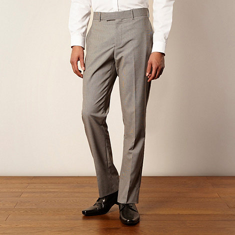 Red Herring Red Line - Light grey puppytooth tailored suit trousers