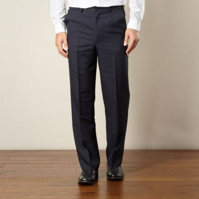 Big and tall navy flexible waist flat front trousers