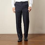 Farah - Navy flexible waist flat front trousers