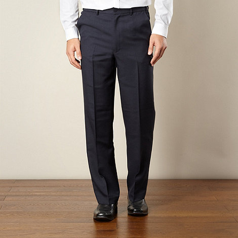 Farah - Navy flexible waist flat front trousers