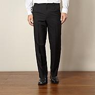 Farah - Black flexible waist flat front trousers