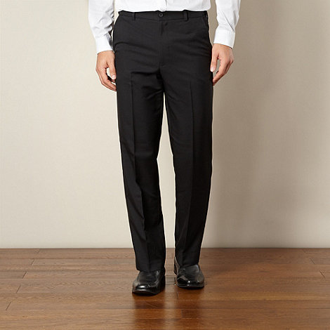 Farah - Black flexible waist flat front trousers