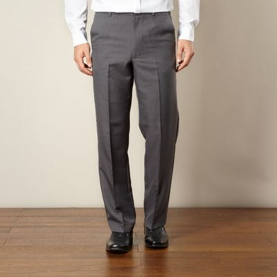 Big and tall grey flexible waist flat front trousers