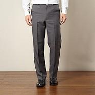 Farah - Grey flexible waist flat front trousers
