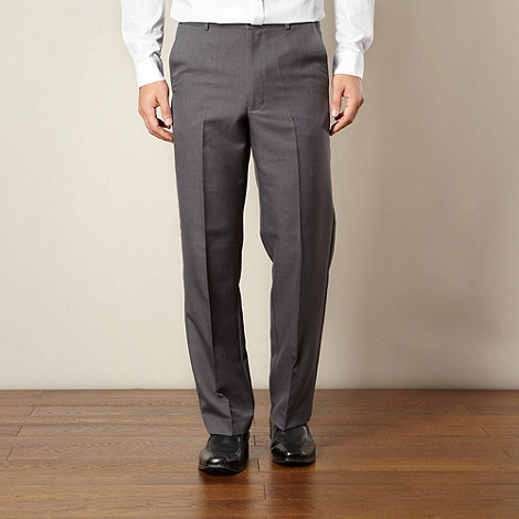 Farah - Grey flexible waist flat front trousers