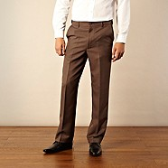 Farah - Brown flexible waist flat front trousers
