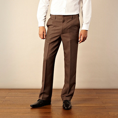 Farah - Brown flexible waist flat front trousers