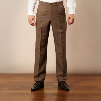 Dark olive flexible waist flat front trousers