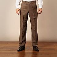 Farah - Dark olive flexible waist flat front trousers