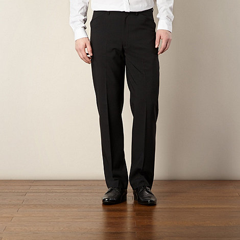 Farah - Big and tall black flat front smart trousers