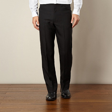 Farah - Big and tall black frog mouth formal trousers