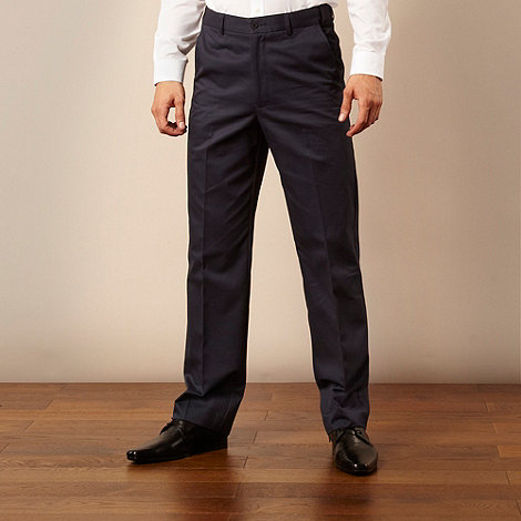 Farah - Big and tall navy flexible waistband straight leg chinos