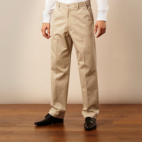 Farah - Beige flexible waistband straight leg chinos