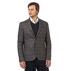 The Collection - Grey checked textured herringbone jacket with wool