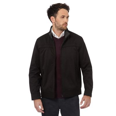 The Collection Big and tall black funnel neck harrington