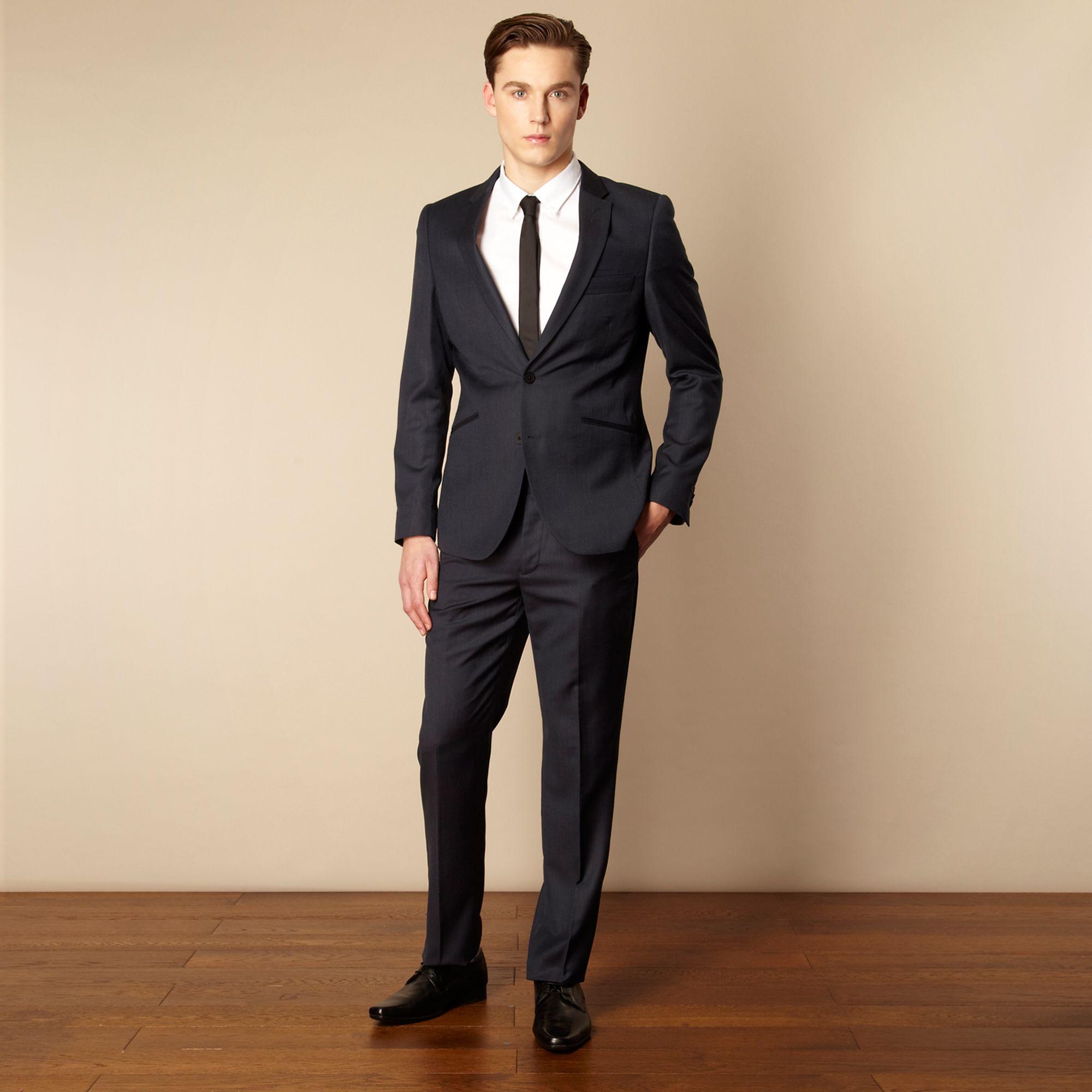 herring line mens navy wool blend tailored suit
