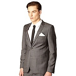 Red Herring Red Line - Grey fine checked tailored suit jacket
