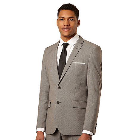 Red Herring Red Line - Big and tall light grey puppytooth tailored suit jacket