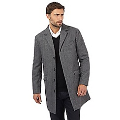 The Collection - Big and tall grey herringbone peacoat with wool