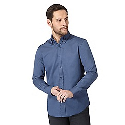 The Collection - Big and tall blue dobby tailored fit shirt