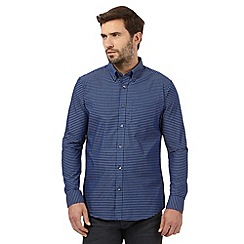 The Collection - Big and tall blue gingham checked print regular fit shirt
