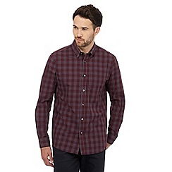 The Collection - Big and tall dark red checked print shirt