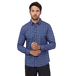 The Collection - Big and tall blue geometric print tailored fit shirt