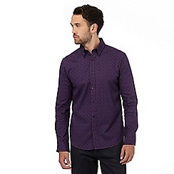 The Collection - Big and tall purple geometric print tailored fit shirt