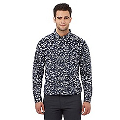 The Collection - Big and tall navy abstract print regular fit shirt