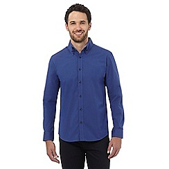 The Collection - Blue textured double collared shirt