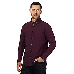 The Collection - Big and tall dark purple dobby textured tailored fit shirt