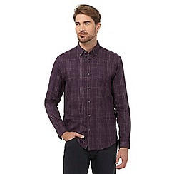 The Collection - Dark purple space dye checked tailored fit shirt