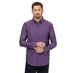 The Collection - Big and tall purple dobby pattern tailored fit shirt