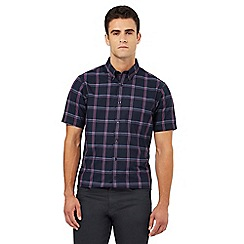 The Collection - Big and tall navy checked regular fit shirt
