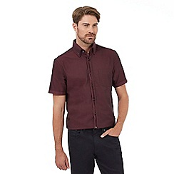 The Collection - Big and tall red short sleeved button down diamond jacquard shirt
