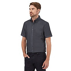 The Collection - Big and tall grey short sleeved button down diamond jacquard shirt