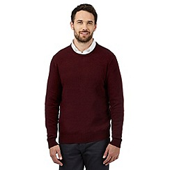 The Collection - Big and tall dark red ribbed trim lambswool blend jumper