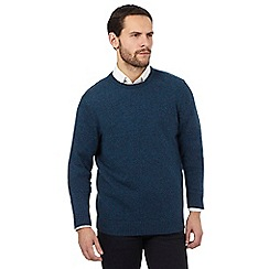 The Collection - Turquoise ribbed trim lambswool blend jumper