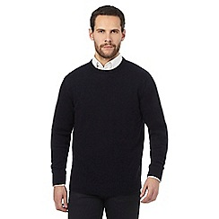 The Collection - Navy ribbed trim lambswool blend jumper