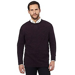 The Collection - Big and tall purple ribbed trim lambswool blend jumper