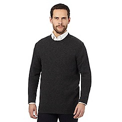 The Collection - Big and tall dark grey ribbed trim lambswool blend jumper