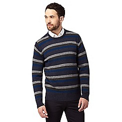 The Collection - Big and tall dark blue striped lambswool blend jumper
