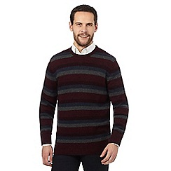 The Collection - Big and tall dark red striped lambswool blend jumper