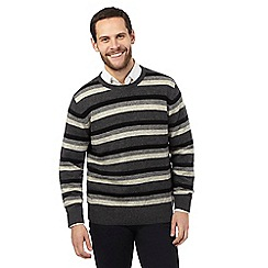 The Collection - Grey striped lambswool blend jumper