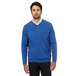 The Collection - Big and tall bright blue V-neck jumper